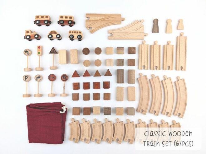 Classic Wooden Train Set (67pcs) KB0051-1