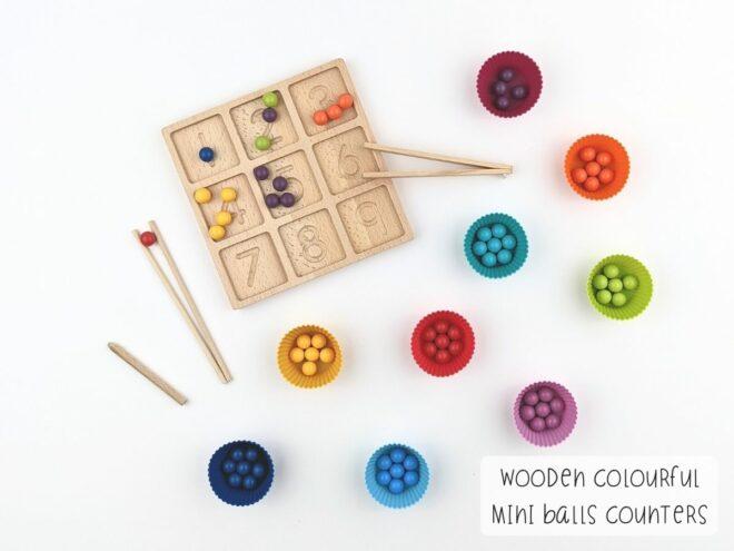 Wooden Colourful Mini Balls Counters KB0065