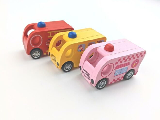 Wooden Yellow School Bus, Red Fire Engine, Pink Ice-cream Truck